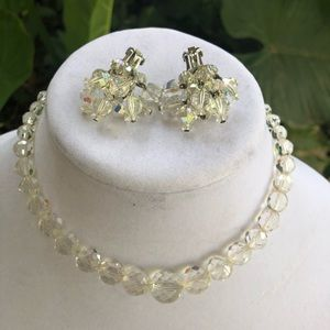 Laguna vintage clear crystal necklace & earrings